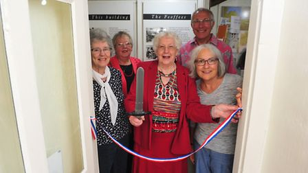 Former mayor of Beccles Pauline Wooden with supporters at the opening. PHOTO: Nick Butcher