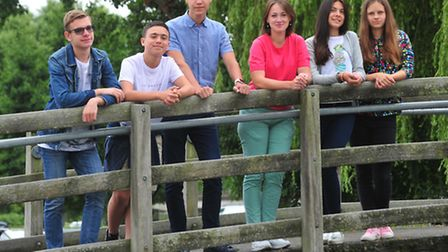 Students from Zhytomyr in Ukraine at the Quay during their stay in Beccles. PHOTO: Nick Butcher