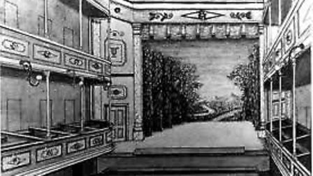 A drawing of what the theatre probably looked like in 1828 - this was a sister theatre in North Wal