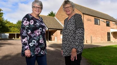 Alison Cackett and Wendy Mendham outside Holton Village Hall. PHOTO: Nick Butcher