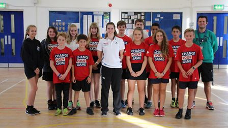 Pupils from Beccles Free School with Olympic skier Ellie Koyander.