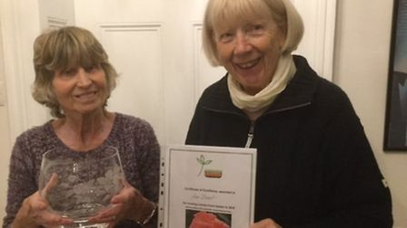 Tamsyn Imison (right) presents Ann Boast with the Lesley Pyke Award for Best Front Garden.