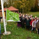The official raising of the Green Flag on the new flagpole at Halesworth Town Park. PHOTO: Nick Butc