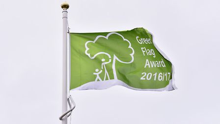The Green Flag flying high in Halesworth.