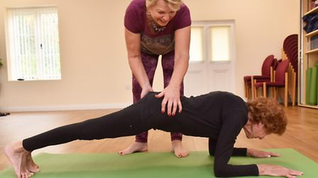 Joy Tupling at her yoga class with instructor Jenny Mercer. Picture: Sonya Duncan.