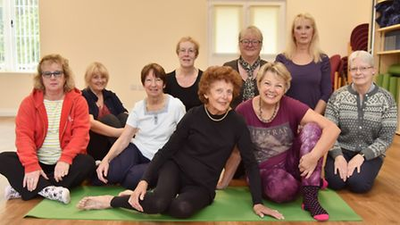 Joy Tupling with other members of her yoga class in Beccles. Picture: Sonya Duncan.