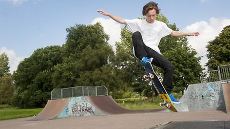 Jacob Pink using the current skate park in Beccles. Picture: Nick Butcher