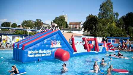 The current inflatable aquarun being used at Beccles Lido this summer.