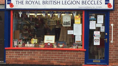 The poppy display in the Royal British Legion shop in Beccles.