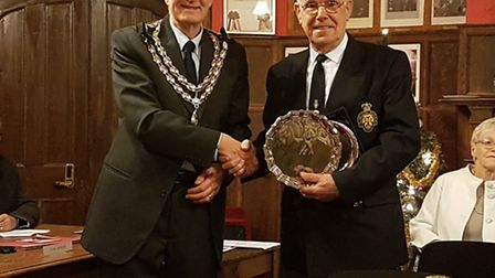 Beccles mayor Graham Catchpole presenting the Lesley Freeman Award to Alfred Muffett.