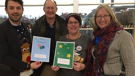 Nigel Lungmuss-Ward from Tesco with Beccles NSPCC member Hugh Taylor, Amanda Bushell from Tesco and