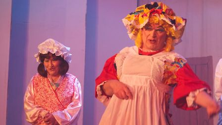 Maureen Larkin with Anthony Bunting in a previous Loddon Players pantomime.