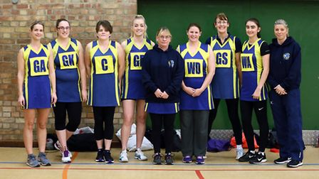 Members of the Beccles Hawks netball team with coach Kim Shrubsall, right. Picture: Steve Wood