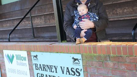 Barney Filsell with his granddad Paul Vass, at the Maltings Meadow, in the stand named as a memorial