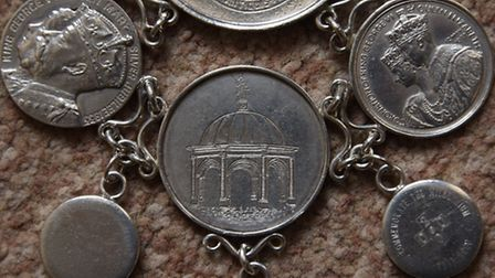The Bungay Town Reeve chain of office. From the bottom up, the two smaller discs commemorate the Mil