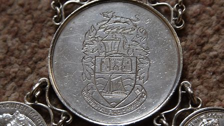 The Bungay Town Reeve chain of office. The Bungay Coat of Arms from 1954. Picture: DENISE BRADLEY