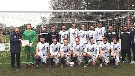 Beccles Town captain Danny Cable received the senior team of the month for December 2016 award from