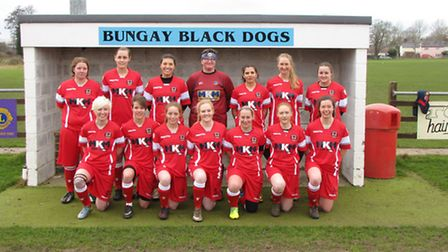 Bungay Town Ladies in their new second strip, sponsored by MKM Building Supplies. Photo: Graham Pur