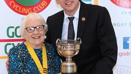 Allan Bell, recipient of the Edna Wigby Memorial Trophy with president Daphne King.