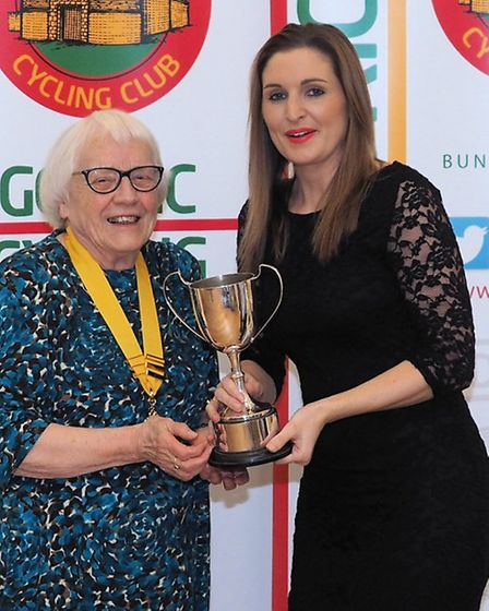 President Daphne King with Laura Gilbert, winner of the Annual Ladies Hill Climb Trophy.