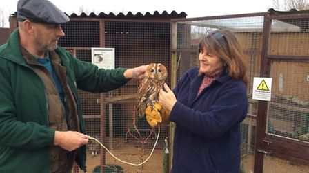 Andrea Gamby-Boulger, founder of Wetnose Animal Aid, with a trustee from Fritton Owl Sanctuary.