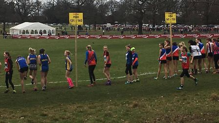 Enya Calver-Brown and Elodie Whyte (middle of picture) wait anxiously on the start line for their U1