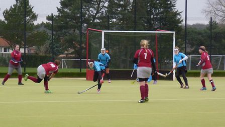 Action from the match between Beccles and Reepham which Beccles won 4-0. Picture by Tony Peck.