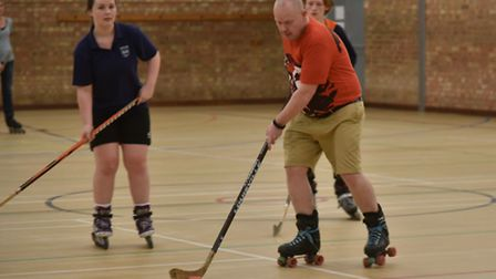 A charity roller skating match is held at The Venue in Beccles to raise money for new equipment.Byli
