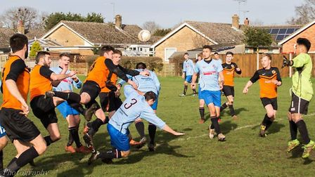 Goalmouth action from Earsham's draw with Bungay Reserves. Picture: AJH Photography/Andrew Harvey.
