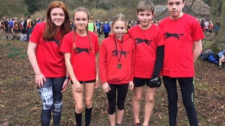 Pictured at Nowton Park are, from left to right, Bungay Black Dog juniors Ellen Lockhart, Holly Bun