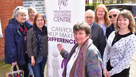 Halesworth volunteer centre celebrates its 30th anniversary.Volunteers and staff outside the centre.