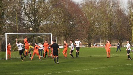 Action from the Beccles Town v Bradenham Wanderers match which ended goalless on Saturday. Picture:
