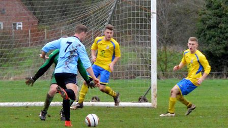 Dom Mirner completes his hat-trick on Saturday. Picture: Shaun Cole.