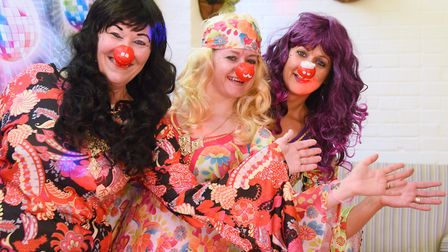 Dancing Queens, from left, Sue Manning, Hayley Hirst, and Donna Horne, staff at Brooke House Care Ho