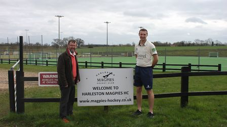 John Rowe (Harleston Mapgies commercial manager) with Jon Block (Topcroft CC head coach). Picture: D