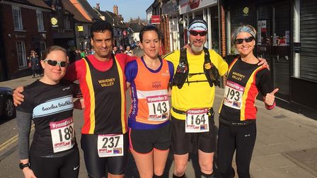 Waveney Valley AC runners, from left to right: Suzy Knights, Karim Ouaddane, Rebecca Harris, Karle H