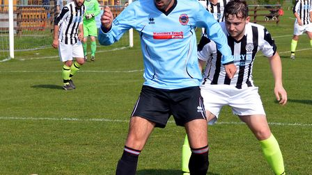 Aiden Lowe opened the scoring for Bungay Town in their 2 0 win over North Walsham on Saturday. Pictu