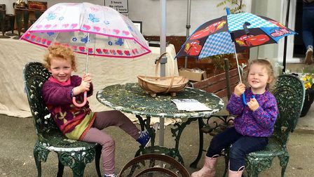 Ruby and Brooke were prepared for showers at the Halesworth Spring Garden Market