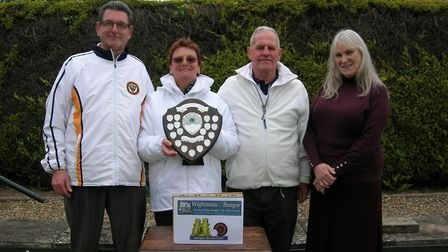 Winners of the Wightman of Bungay President's Shield (left to right): Bernie Earls, Glenis and Terry