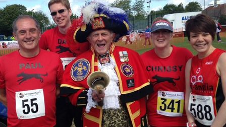 The Great Baddow, Essex, town crier joins (from left) Paul Bird, David Neeve, Christine Kingwell and