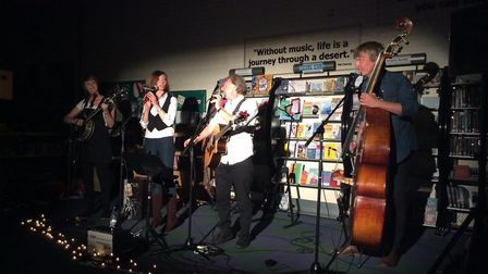 Honey and the Bear, Kevin Walford and Kelly Pritchard performing at Beccles Library. Picture: Ellen