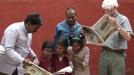Banyan Tree charity supporters from Suffolk took copies of the East Anglian Daily Times to the chari