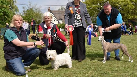 best in show: Lotty Barbour presenting the Cratfield Cattery perpetual trophy to Mrs Lovell, with r
