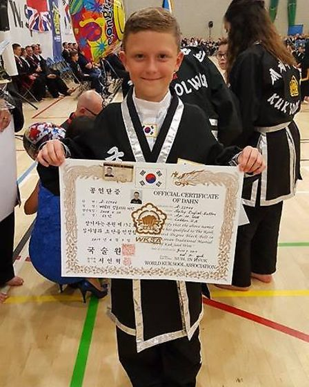 Bailey English-Sutton has become a first degree black belt. Picture: Clair Sutton.