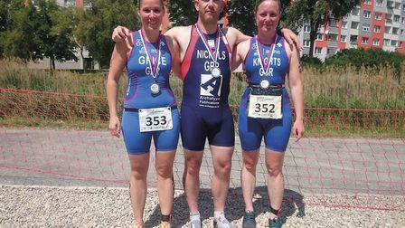 Three Beccles and Bungay friends competed recently at the European Aquathlon Championships in Brat