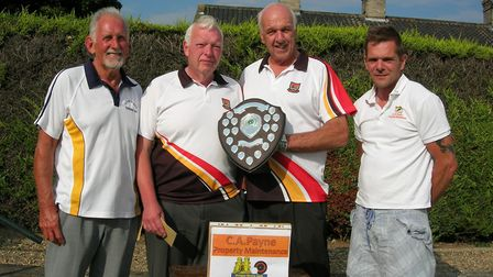 The winners of the Chairman's Shield, from left to right Jack Newnham, Mick Battle and Genville Wrig