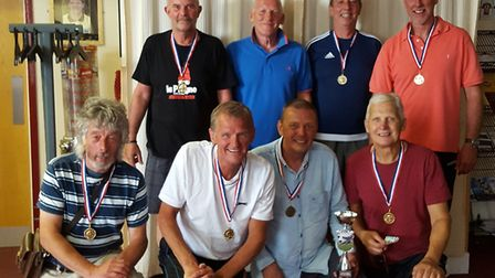 The successfull Beccles Walking Football team that featured Trevor Whymark (front second left) and L
