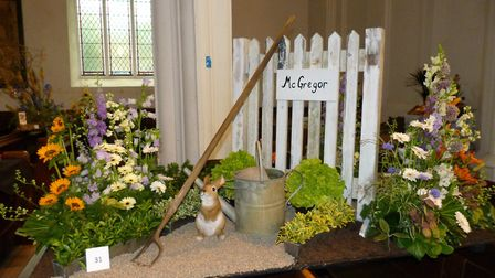 The Peter Rabbit display at the Books in Bloom flower festival in Bungay. Picture: Bungay Flower Clu