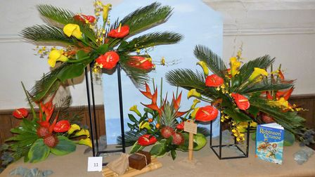 The Robinson Crusoe display at the Books in Bloom flower festival in Bungay. Picture: Bungay Flower
