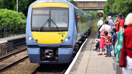 A Greater Anglia train arrives at Halesworth Train Station. Picture: James Bass